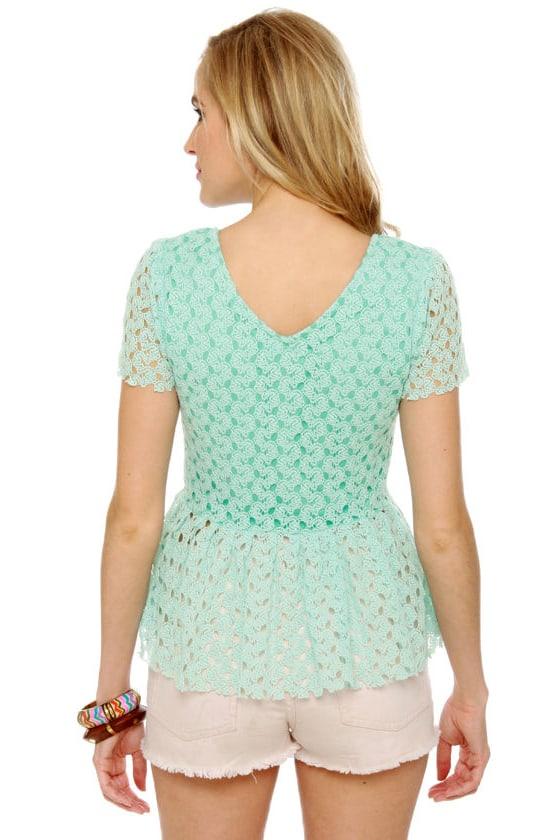 Pep Sister Mint Blue Lace Top