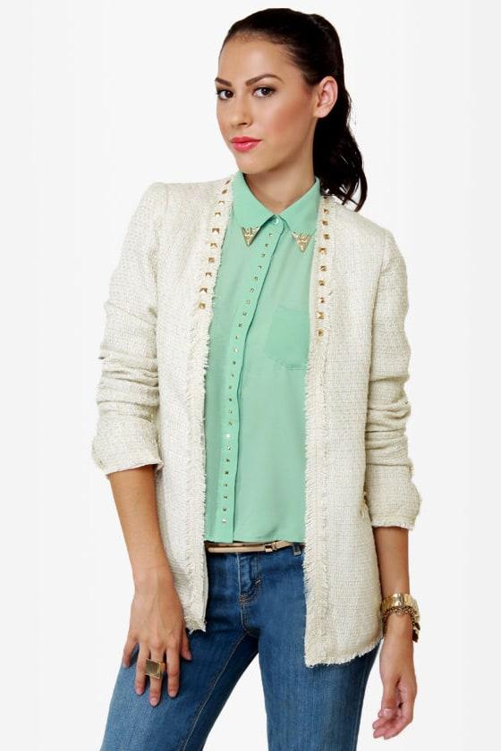 Sweet on Tweed Studded Ivory Jacket