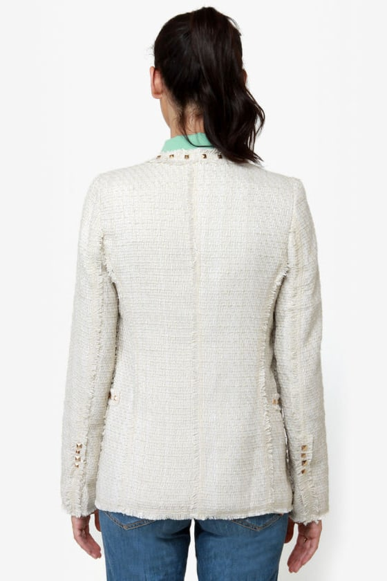 Sweet on Tweed Studded Ivory Jacket