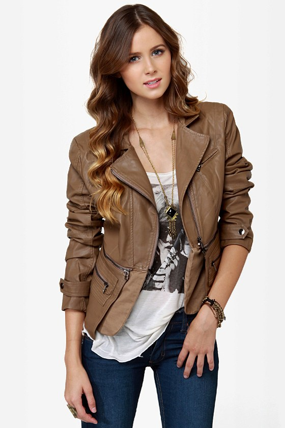 Cute Brown Jacket - Vegan Leather Jacket - $94.00