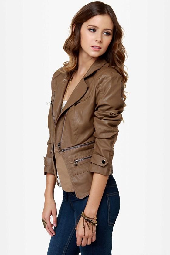 Pocketry Brown Vegan Leather Jacket