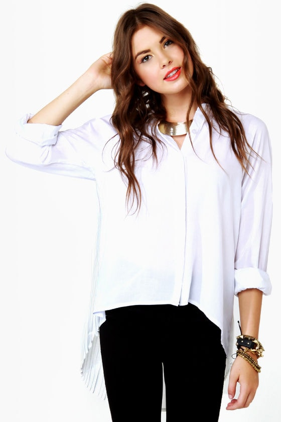 Twisting Tradition Pleated White Top at Lulus.com!