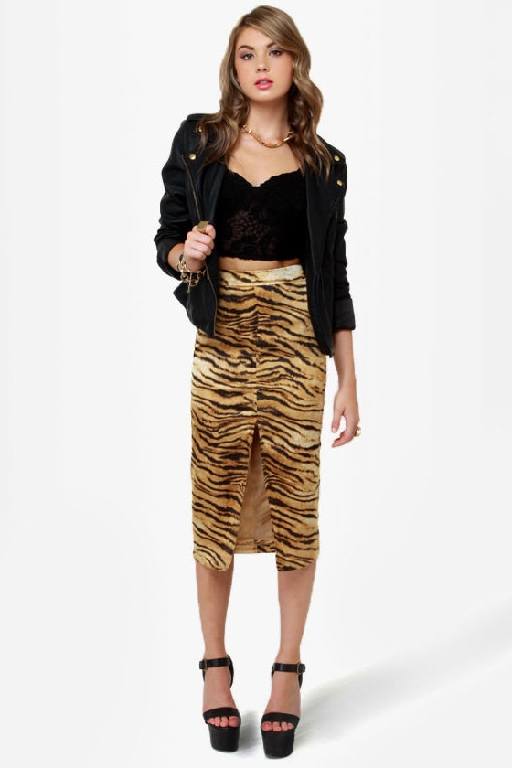 0fbc5ac81b Sexy Animal Print Skirt - Pencil Skirt - Midi Skirt - Satin Skirt - $49.00