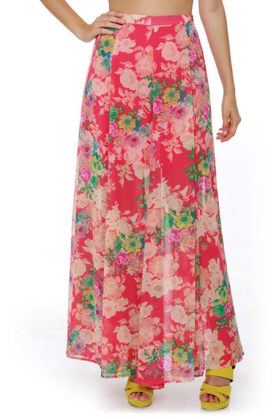 e4eda0b358 Lovely Floral Print Skirt - Maxi Skirt - Slit Skirt - $89.00