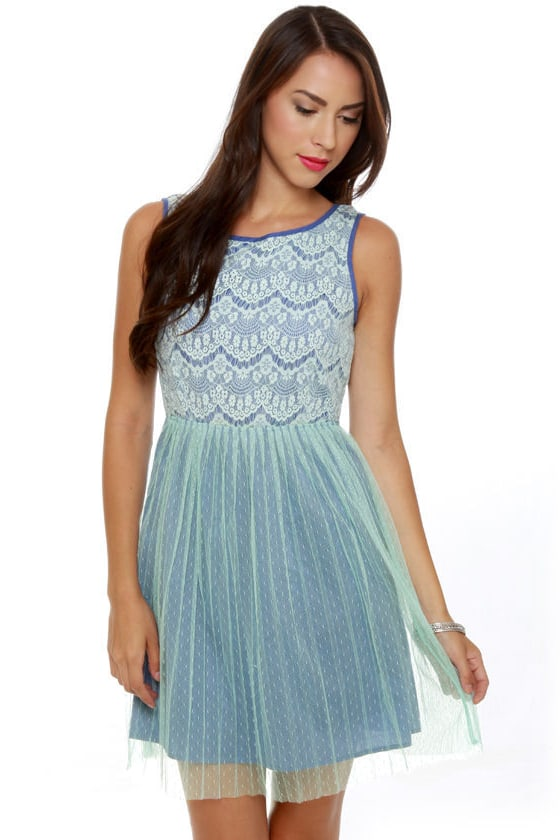 Bluebell of the Ball Blue Lace Dress at Lulus.com!