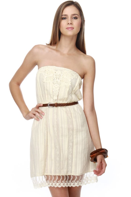 Lemon Custard Strapless Lace Dress