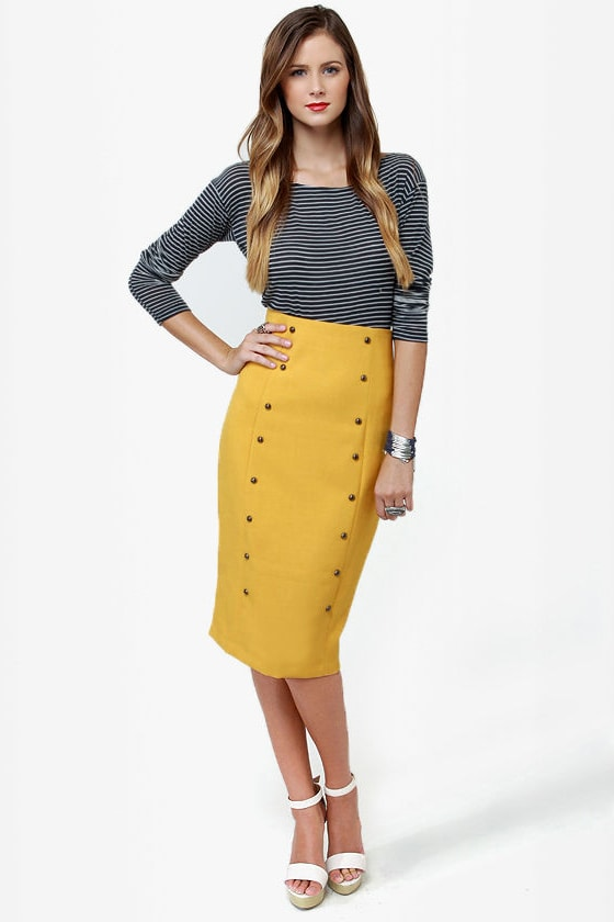Chic Pencil Skirt - Yellow Skirt - Midi Skirt - High-Waisted Skirt ...