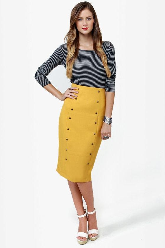 City Sleek-er Mustard Yellow Pencil Skirt