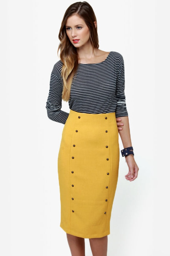 City Sleek-er Mustard Yellow Pencil Skirt