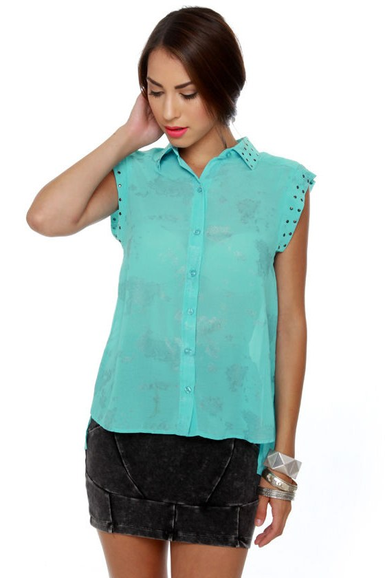 Cloud and Proud Sky Blue Button-Up Top