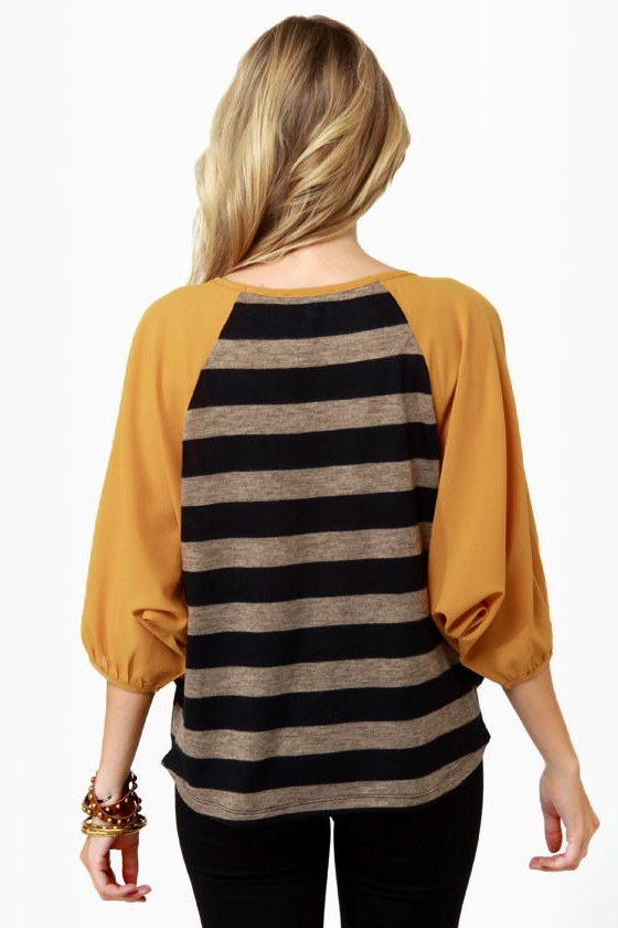 Pub Fare Yellow Striped Top at Lulus.com!