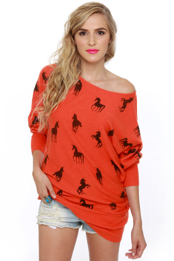 Unique-orn Orange Unicorn Print Sweater Dress at Lulus.com!