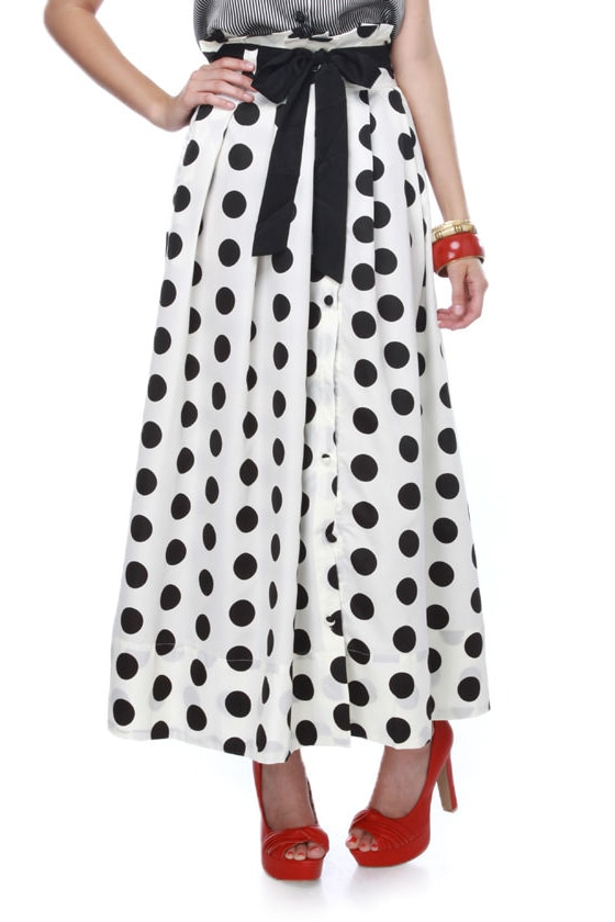 Around the Clock Polka Dot Maxi Skirt