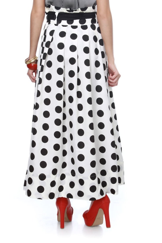 retro skirt maxi skirt polka dot skirt 77 00