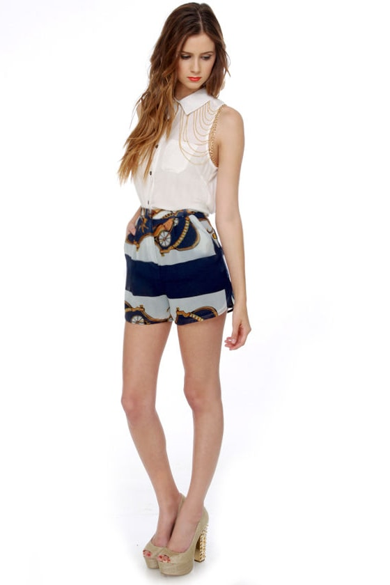 Carriage House of Fashion Navy Blue Print Shorts