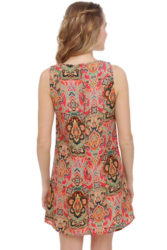 East Meets Best Red Print Dress at Lulus.com!