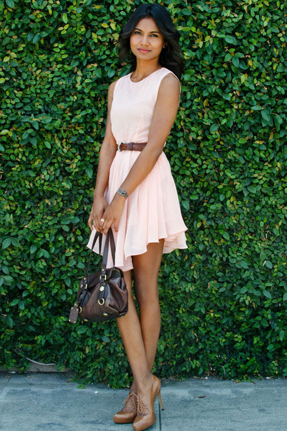 Peach Tea Peach Polka Dot Dress
