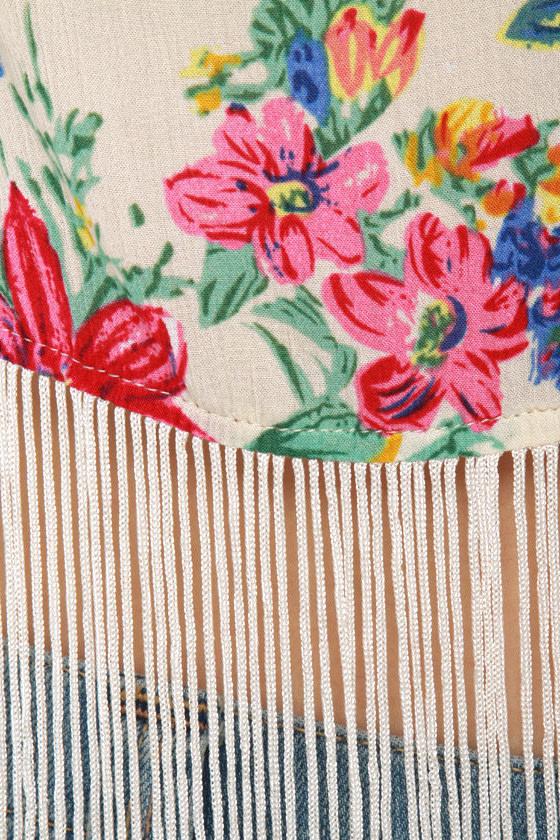 Fringe Caravan Floral Print Crop Top