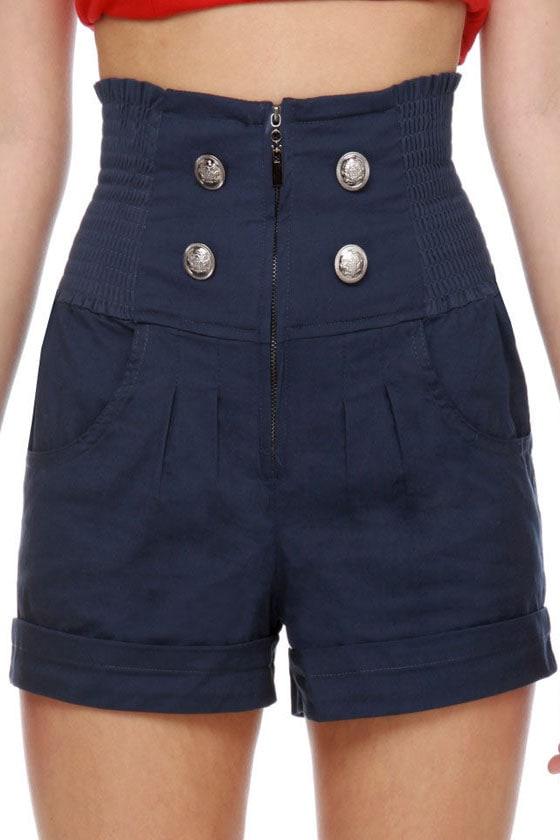 Honey Buns Navy Blue High-Waisted Shorts