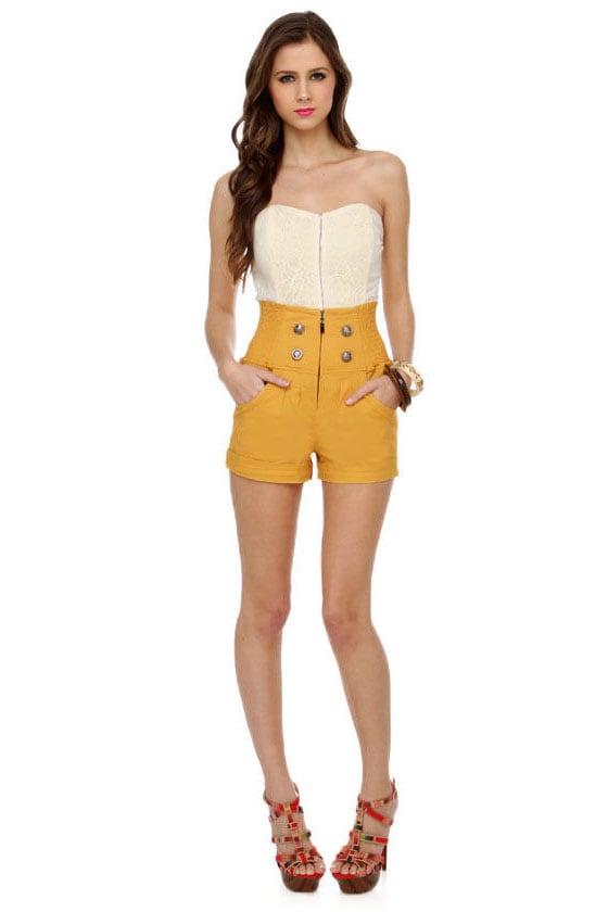Cute Yellow Shorts - High-Waisted Shorts - $37.00