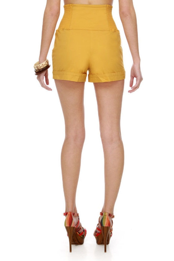 Cute Yellow Shorts - High-Waisted Shorts - $37.00