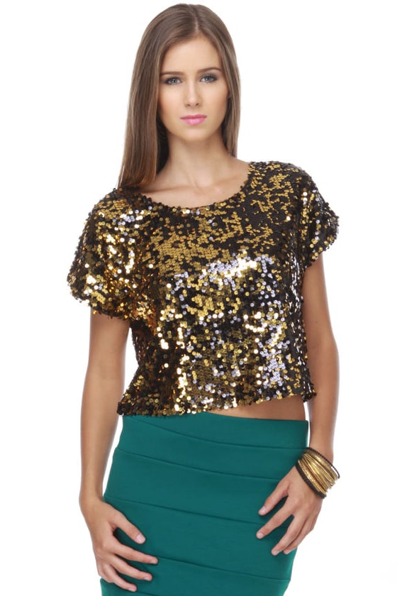 Rocket Fuel Gold Sequin Crop Top