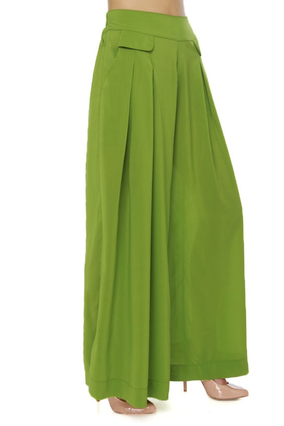 Cute Lime Green Pants - Wide-Leg Pants - $37.00