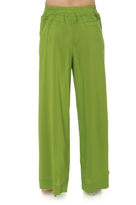 Great Lengths Lime Green Wide-Leg Pants