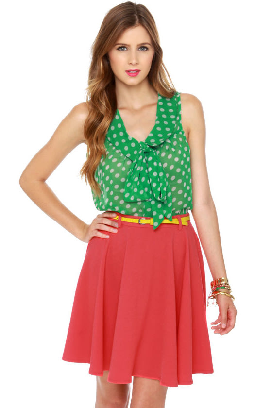 Spin Me Round Coral Red Skirt at Lulus.com!