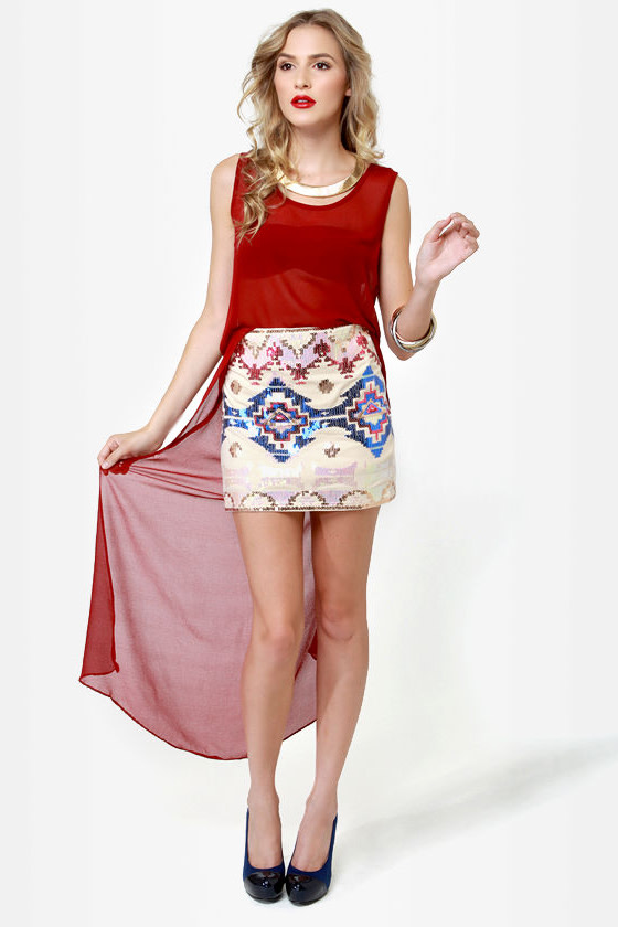 Las Vegas Lights Cream Sequin Skirt