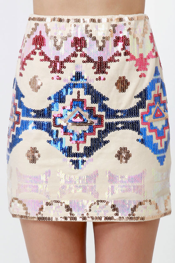 Las Vegas Lights Cream Sequin Skirt