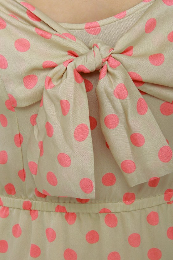 Grand Dotter Beige Polka Dot Dress