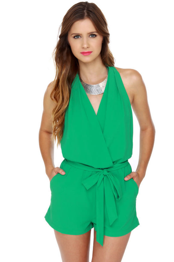 0d3352ec168 Cute Mint Green Romper - Teal Romper - Halter Romper -  41.00