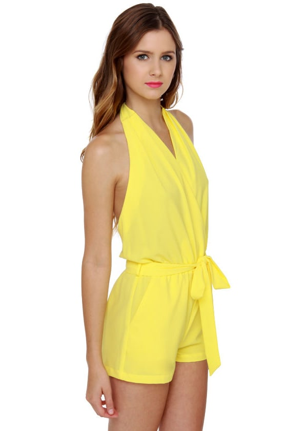 Just Playin' Yellow Romper at Lulus.com!