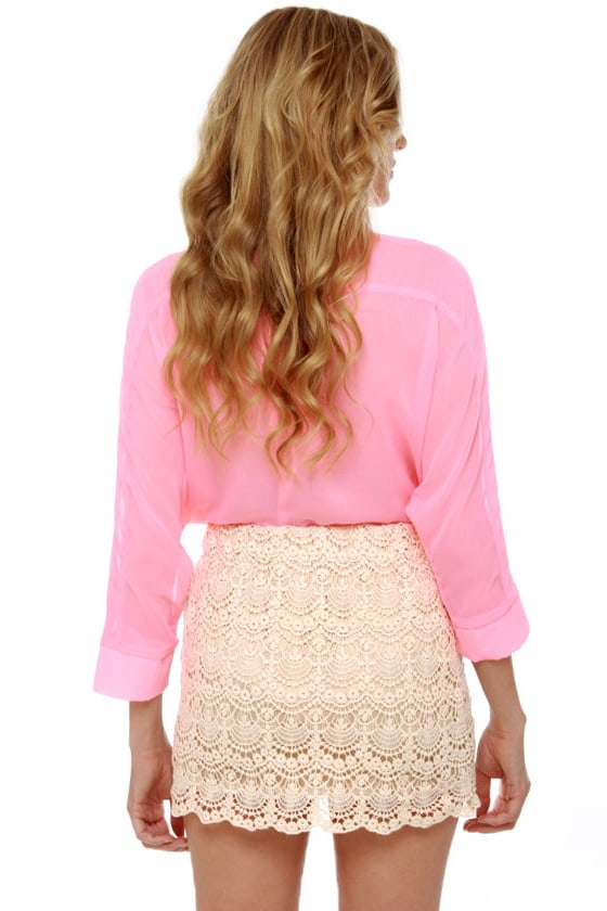 Afternoon Moon Cream Lace Mini Skirt