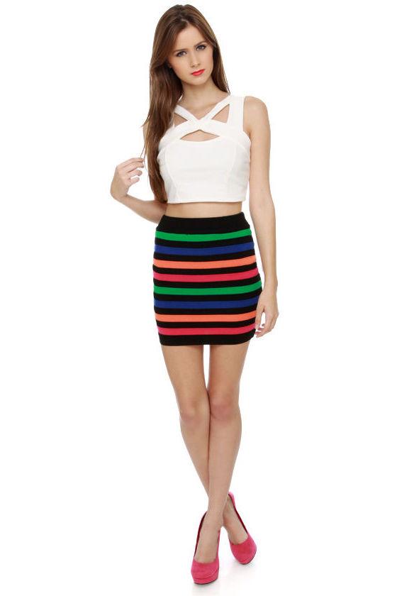 Earn Your Stripes Black Striped Mini Skirt