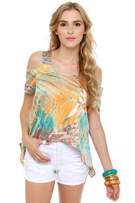 Mount Kilauea Orange Print Top at Lulus.com!