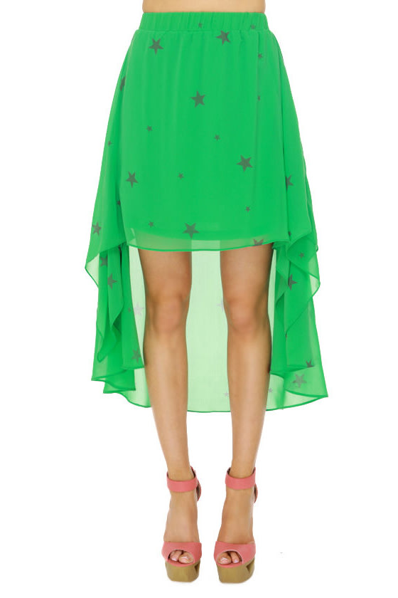Star Power Green Print Skirt at Lulus.com!