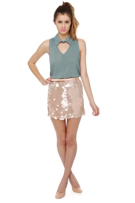 Sexy Sequin Skirt - Beige Skirt - Mini Skirt - $39.00