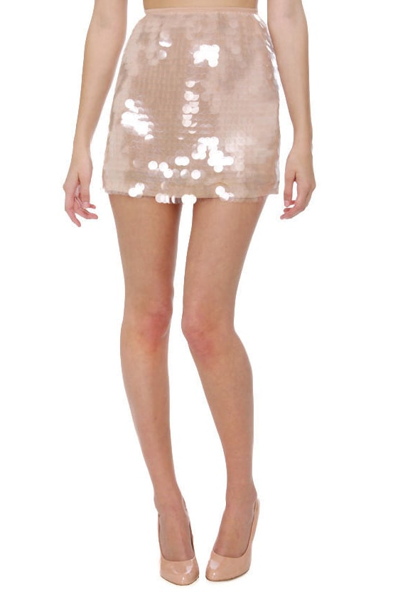 Champagne Brunch Beige Sequin Skirt