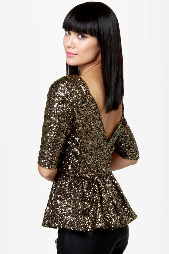 0366f0270bb1ce Dressy Sequin Top - Gold Top - Peplum Top - Backless Top -  56.00