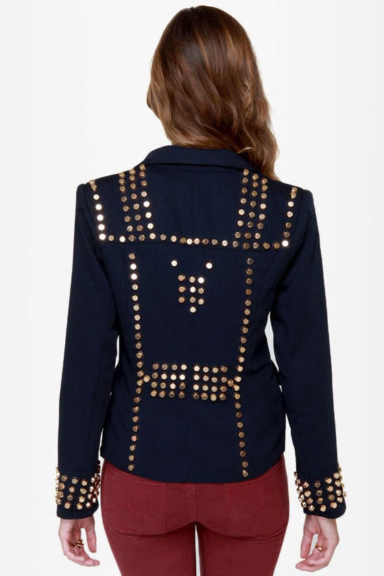 All That Jazz Studded Navy Blue Jacket at Lulus.com!