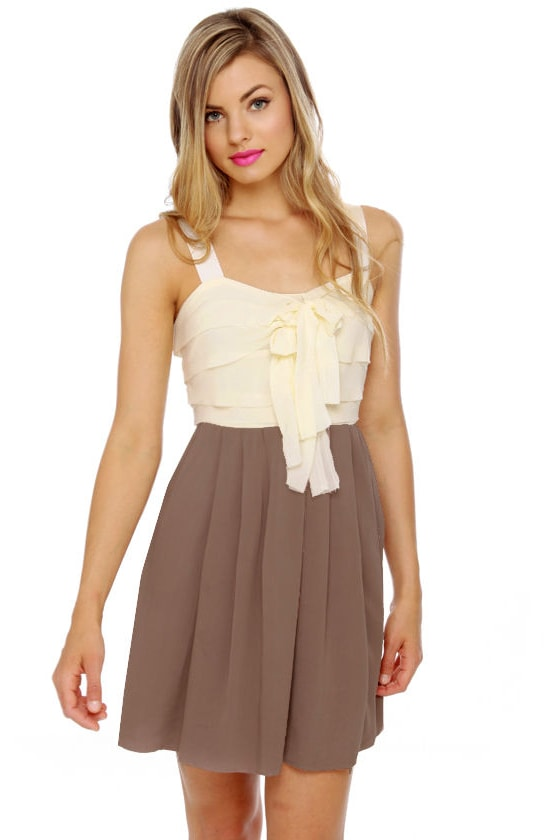 Cappuccino Ivory and Taupe Dress at Lulus.com!