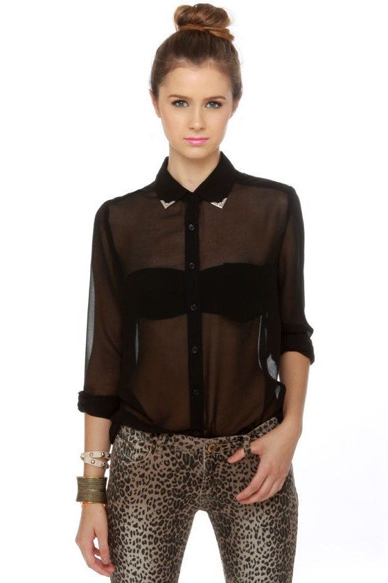 Cute black top collared shirt button up top for Women s collared button up shirts