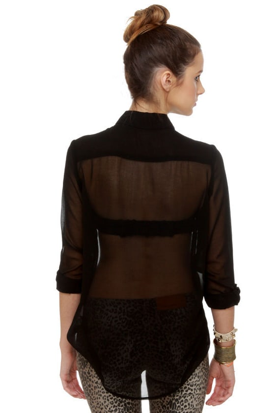 Gentleman Collar Sheer Black Top