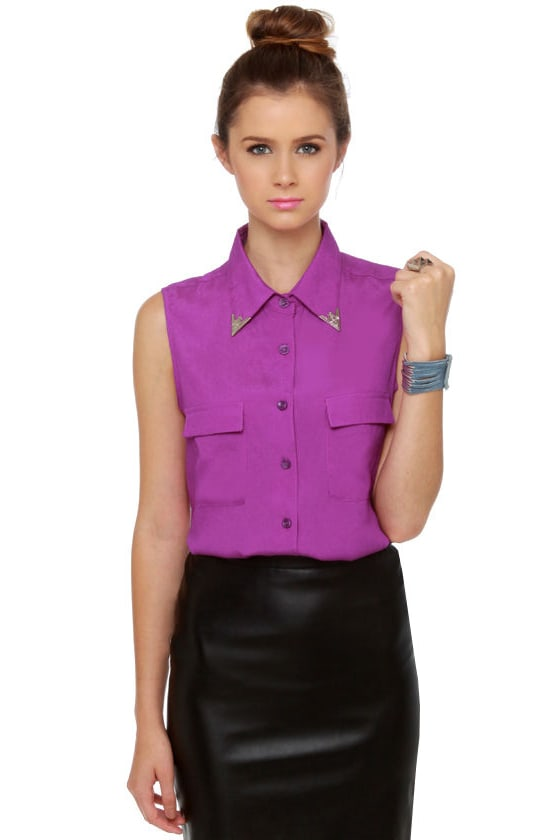 516aaffef12a Awesome Purple Top - Button-Up Top - Embellished Collar Top - $38.00