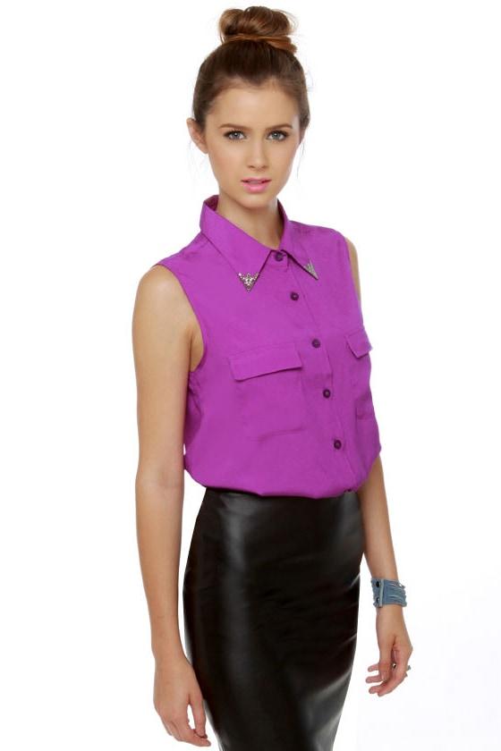 Bolo Tie Optional Sleeveless Purple Top