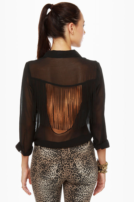 Fringe Countryside Black Button-Up Top at Lulus.com!
