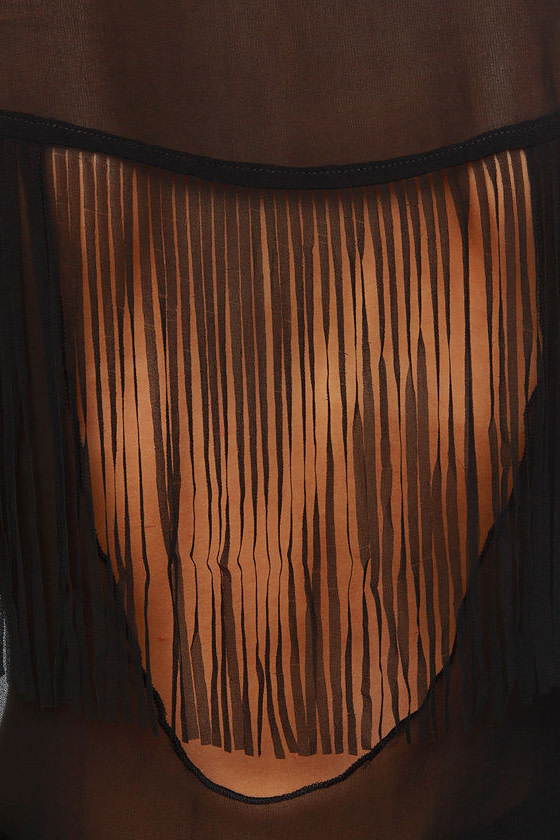 Fringe Countryside Black Button-Up Top