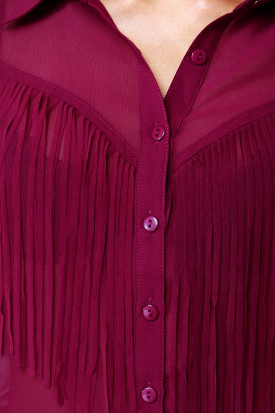 Fringe Countryside Magenta Button-Up Top at Lulus.com!